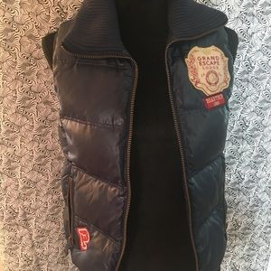 PINK down navy vest with patches. Size XS